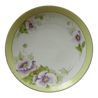 Vintage Yellow Trim with Purple Flowers Porcelain Plate
