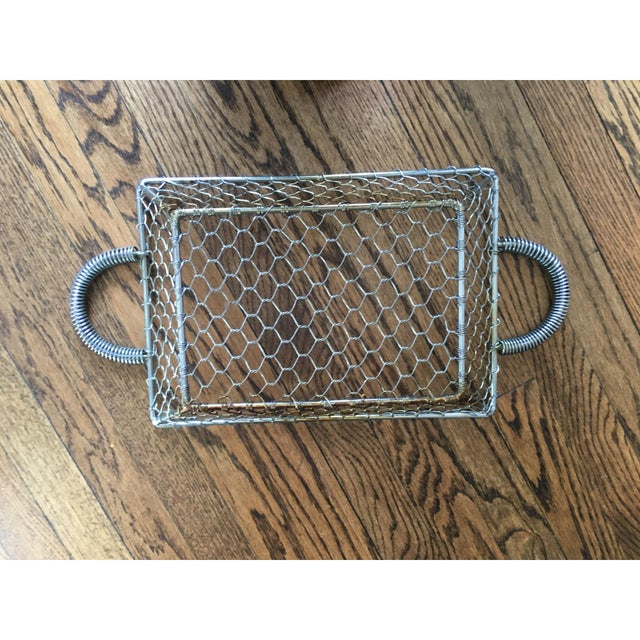 French Country Industrial Wire Tray Basket - Image 5 of 5