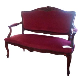 Louis XV Red Velvet Settee For Sale
