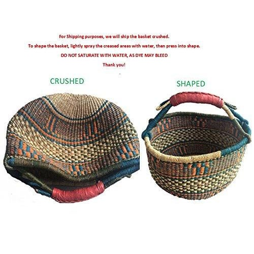 Textile African Bolga Woven Natural Basket For Sale - Image 7 of 8