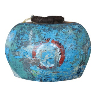 Asian Wooden Painted Bell For Sale