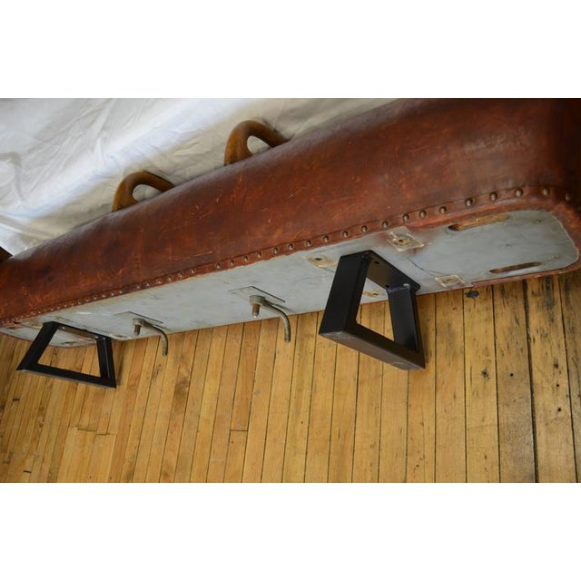 Vintage Leather Gym Pommel Horse Bench For Sale - Image 10 of 10