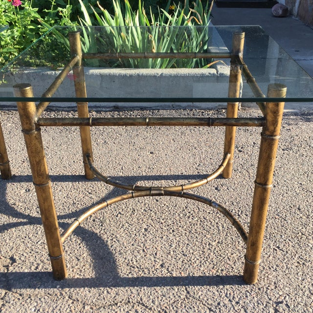 Metal Vintage Faux Bamboo Gold Metal & Glass Side Tables - a Pair For Sale - Image 7 of 12