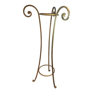 1950s Hollywood Regency Wrought Iron Plant Stand Pedestal For Sale