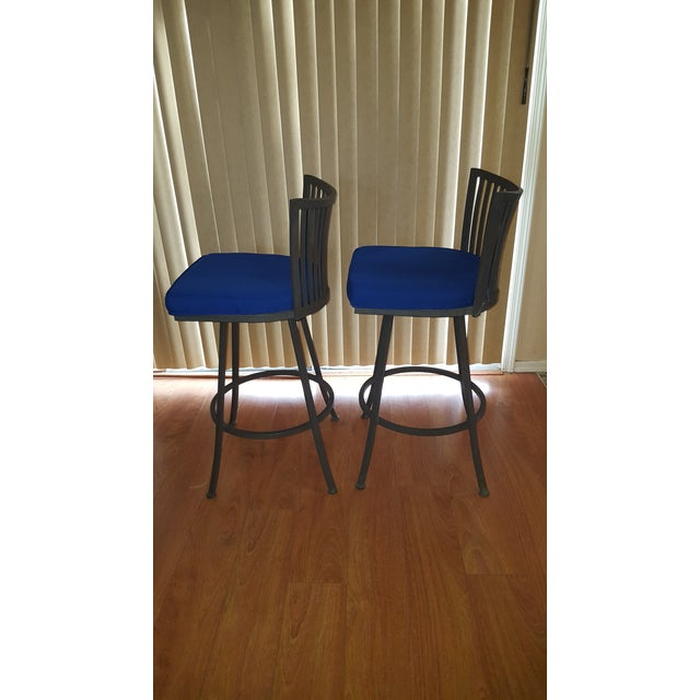 Contemporary Trendler Mid Century Modern Peacock Blue Swivel Bar Stools- a Pair For Sale - Image 3 of 6