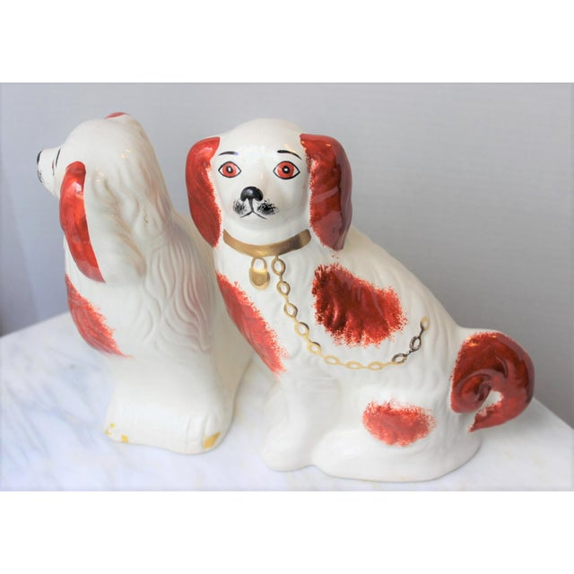 1950s Figurative Staffordshire Ceramic Spaniels Dogs - a Pair For Sale - Image 4 of 13