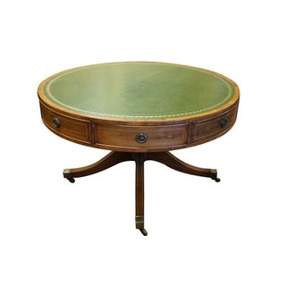 Antique George III Regency Rent Table Leather Top Drum Game Table Preview