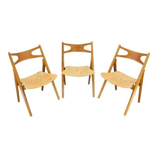 Set of Three Hans Wegner Ch 29 Oak Dining Chairs For Sale