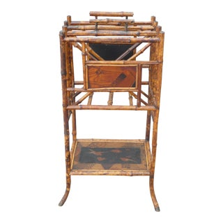 Late 19th Century Victorian Japanned Bamboo Magazine Rack For Sale