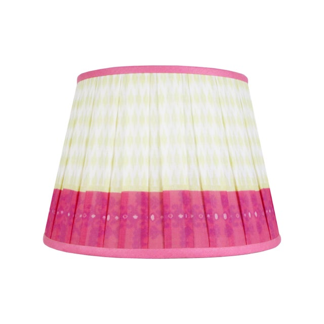 """Textile Pleated Printed Shade with Border 16"""" Citrus and Coral For Sale - Image 7 of 7"""