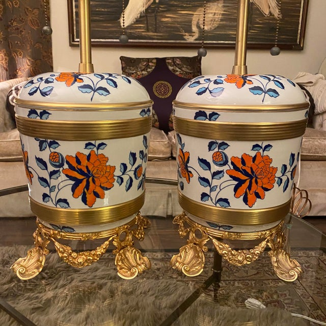 Beautiful Sevres French Porcelain Table lamps by, Marbro Lamp Company. These porcelain beauties have hand painted designs...