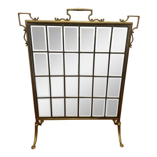 Vintage Beveled Glass and Brass Fireplace Screen For Sale