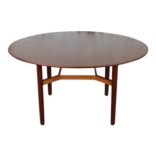 Walnut Round Dining Table by Lewis Butler for Knoll