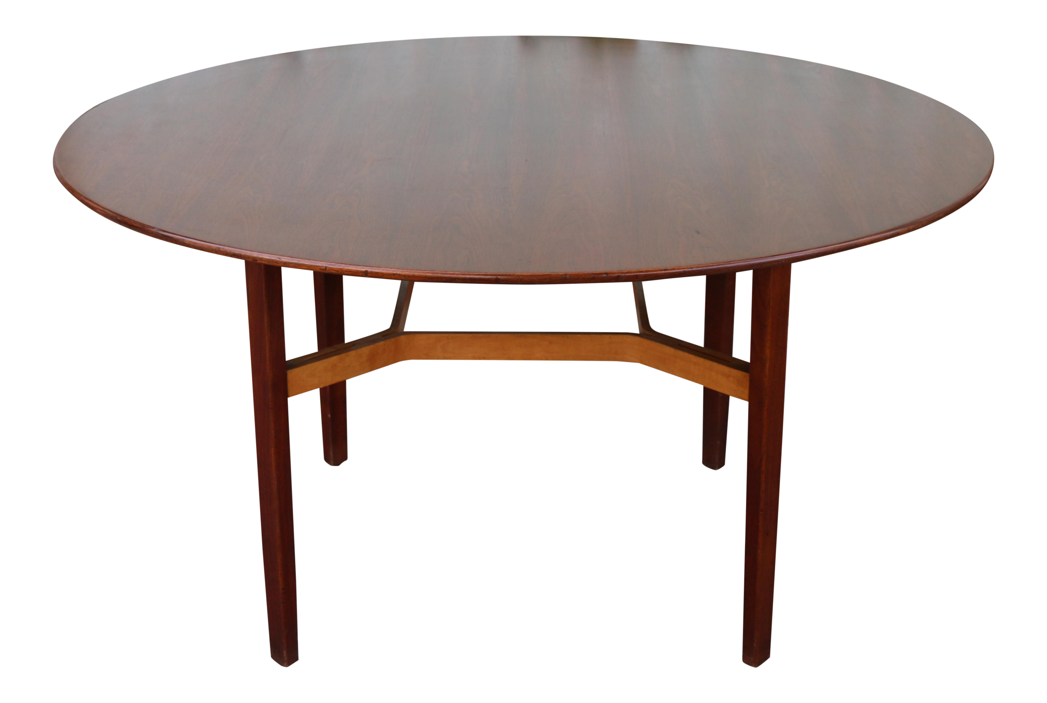 Attirant Walnut Round Dining Table By Lewis Butler For Knoll