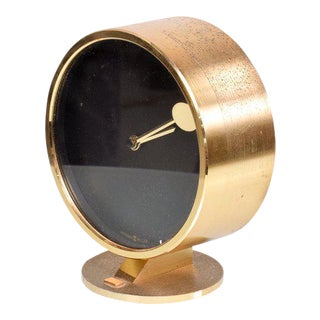 Mid-Century Modern Howard Miller Brass Table Clock For Sale