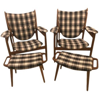Pair of Burberry Style Fabric Lounge Chairs With Matching Ottomans For Sale