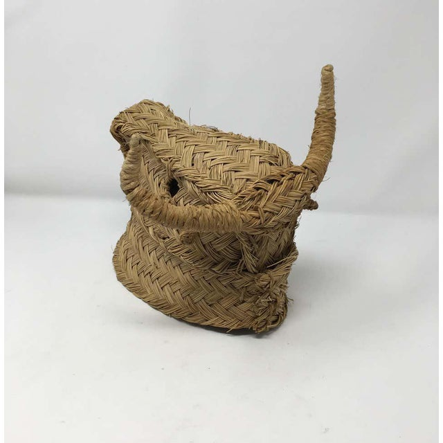 Mid 20th Century Handmade Esparto Grass Wall Mount Bulls Head For Sale In Houston - Image 6 of 11
