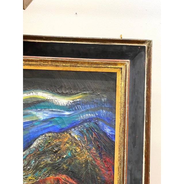 Canvas Large Vintage Oil on Canvas Signed Charles Melohs Nighttime Scene Painting Framed For Sale - Image 7 of 10