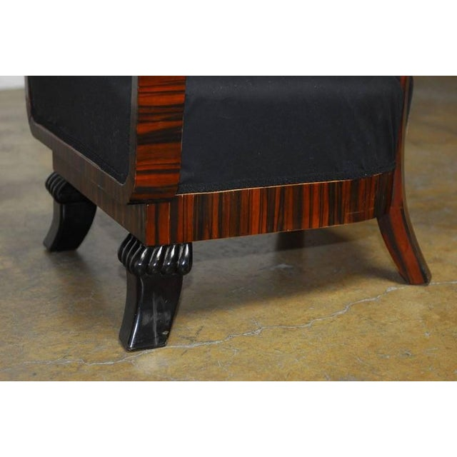 French Art Deco Macassar Club Chairs - A Pair For Sale In San Francisco - Image 6 of 10
