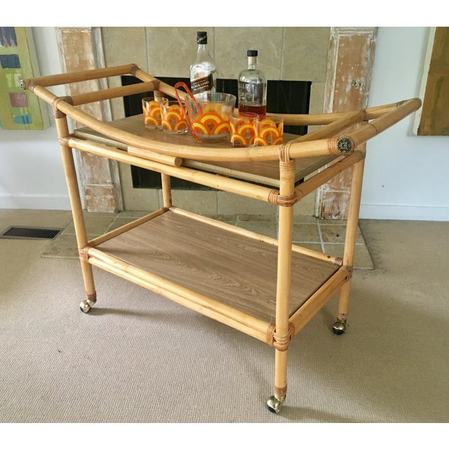 Mid-Century Bamboo Bar Cart For Sale - Image 4 of 10