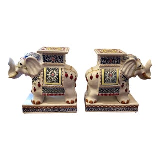 1970s Vintage Chinoiserie Style Porcelain Painted Elephant Stands- A Pair For Sale