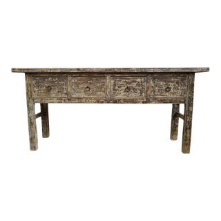 Vintage Farm Rustic 4 Drawer Console Table For Sale