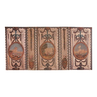 A Set of Five Large Hand-Painted Trompe l'Oeil Wall Panels For Sale