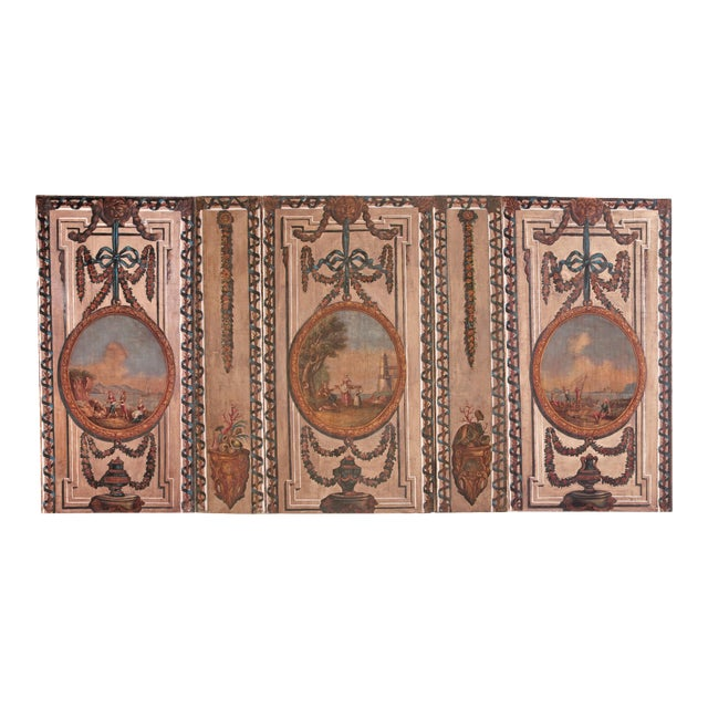 A Set of Five Large Hand-Painted Trompe l'Oeil Wall Panels - Image 1 of 11