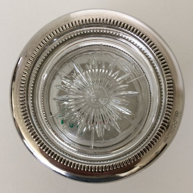 Leonard Vintage Italian Crystal Silver Plated Rim Coasters by Leonard - Set of 4 For Sale - Image 4 of 11