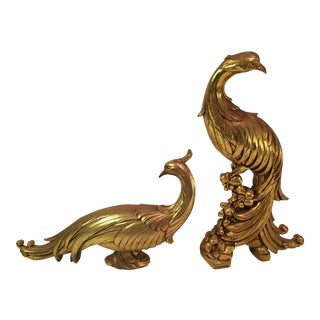 Mid-Century Modern Gold Syroco Peacocks - A Pair
