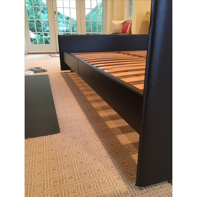 Brown Leather Platform Queen Bed - Image 4 of 9