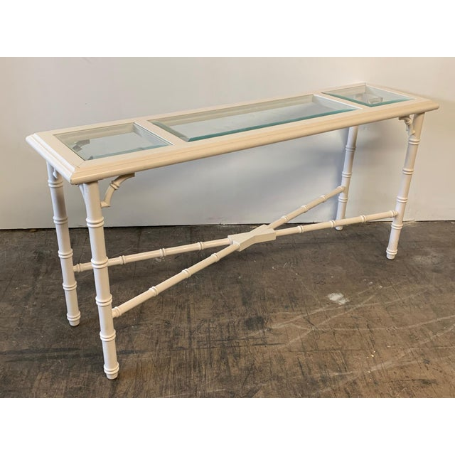 Wood Faux Bamboo and Glass Console Table For Sale - Image 7 of 7