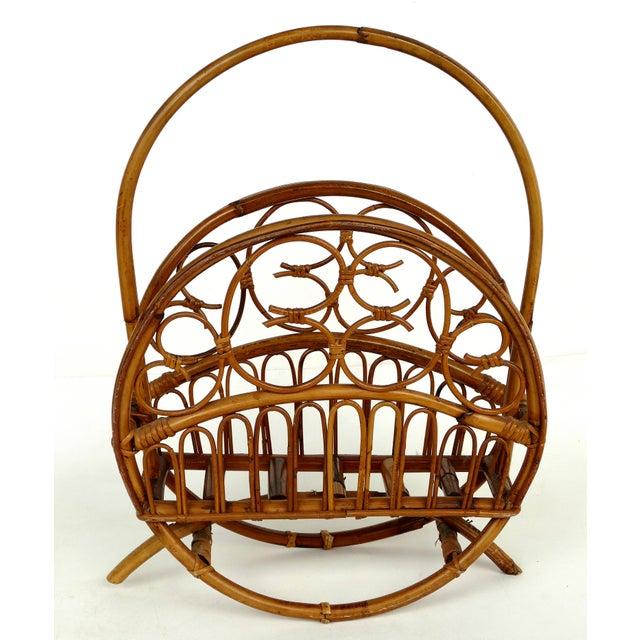Cool Mid Century Modern Bent Rattan Magazine Rack Short Links Chair Design For Home Short Linksinfo