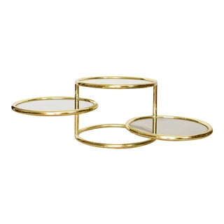 Milo Baughman Brass and Glass Circle Table | Dia Three Tiered Swivel Table For Sale