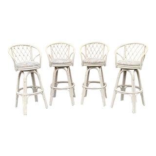 Rattan Swivel Bar Stools - Set of 4 For Sale