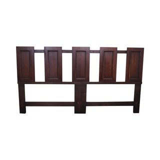 Mid Century Walnut Floating Panel King Size Headboard For Sale