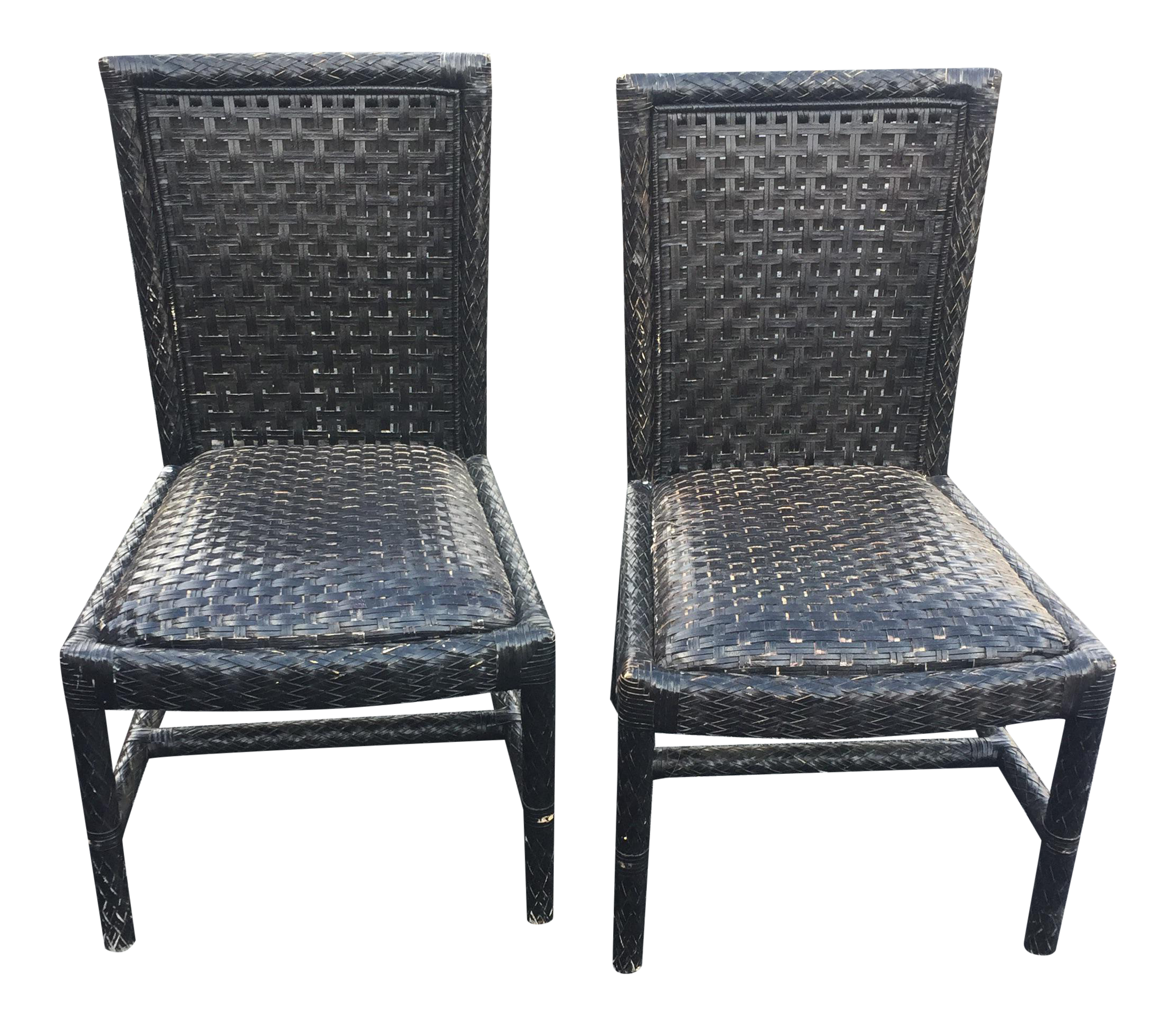 Vintage Oggetti Woven Leather Chairs   A Pair