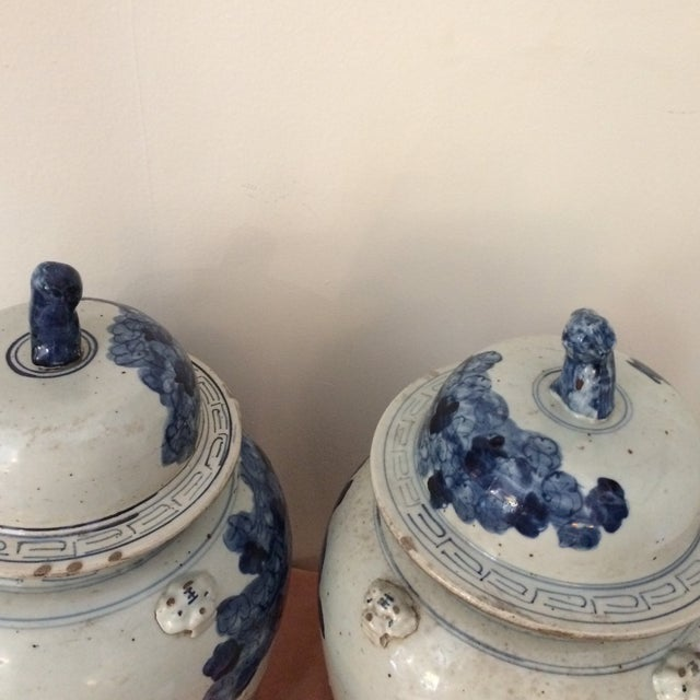 Asian Antique Chinese Blue & White Porcelain Urns - a Pair For Sale - Image 3 of 6