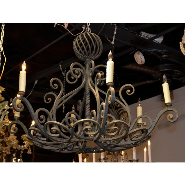 1900 - 1909 French Patinated Iron Chandelier For Sale - Image 5 of 7