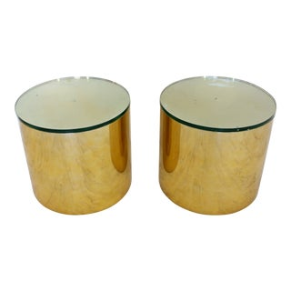 1970s Mid-Century Modern Paul Mayen Habitat Brass Round Drum Side Tables - a Pair