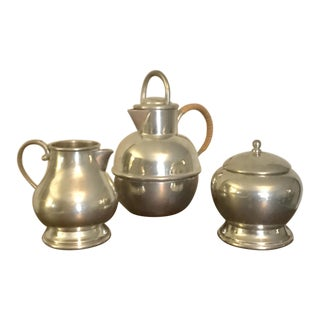 Vintage Mid Century Modern Pewter Coffee Serving Set- 3 Pieces For Sale