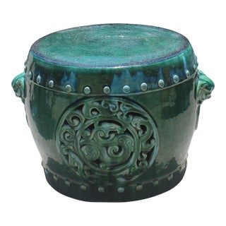 Chinese Ceramic Round Green RuYi Garden Stand Table Stool For Sale