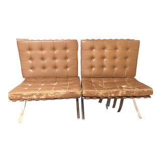 1920s Mies Van Dee Rohe Brown Leather Barcelona Chairs - a Pair