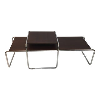Tubular Steel Bauhaus Laccio Coffee Table & Side Table - A Pair For Sale