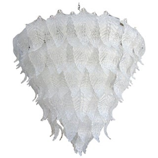 1960s Murano Glass Leaf Chandelier in the Style of Seguso For Sale