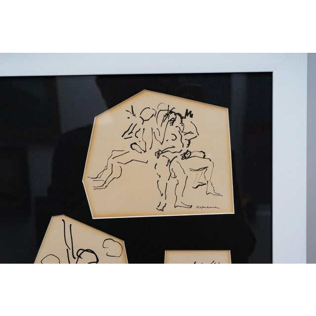 Ink Sketches of Dancers in Position - Set of 3 Framed Groups For Sale - Image 10 of 13