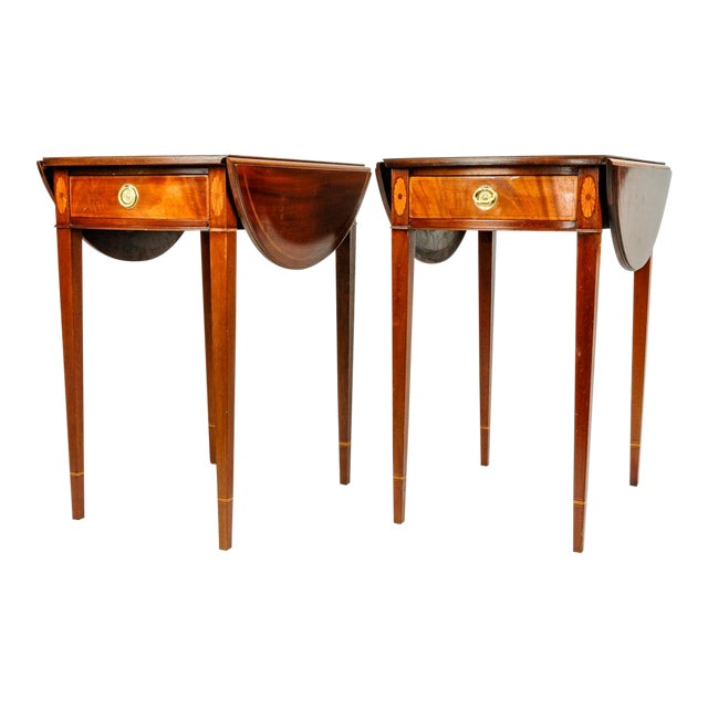 Antique Cherry and Satinwood Banded Pembroke Side Tables - a Pair For Sale