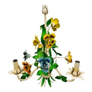 Antique Painted Floral Tole Chandelier For Sale