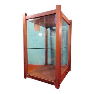 Antique Oak Counter Display Case, Original Glass, Removable Middle Shelf For Sale