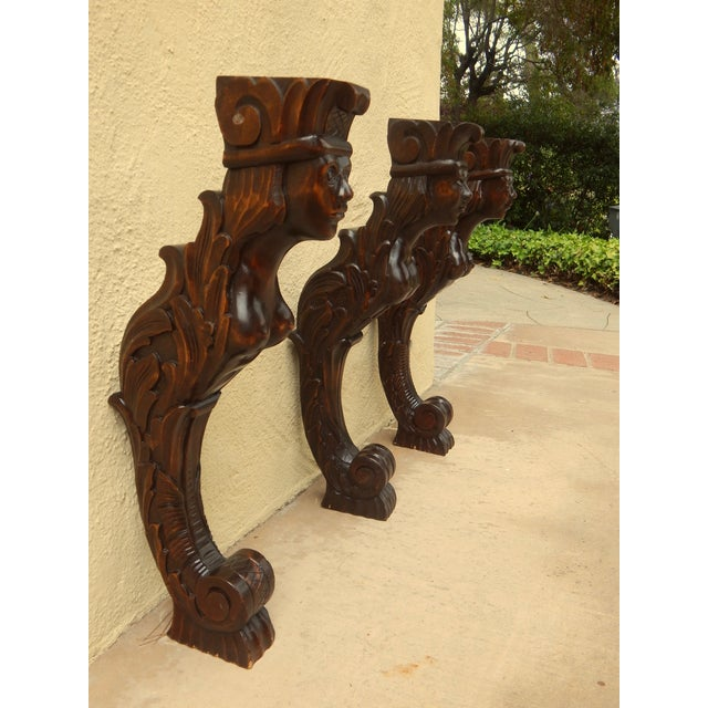 Three Swedish Art Deco Mermaid Shelf Brackets - Image 4 of 7